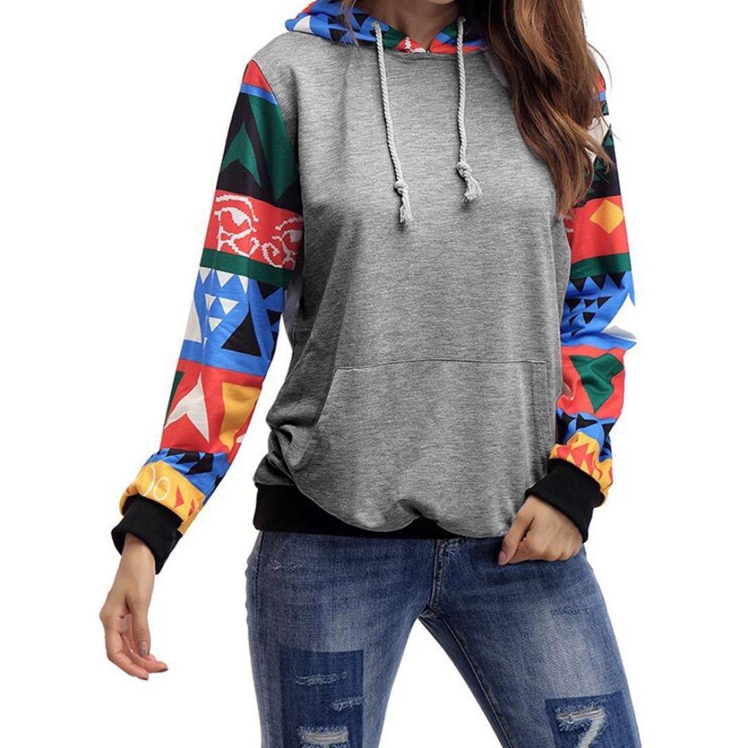 Amlaiworld bunt Geometrisches Muster pulli damen mit aufdruck komfortabel locker Flickwerk Sweatshirt mit Tasche Winter Herbst Kapuzenpullover für Mädchen