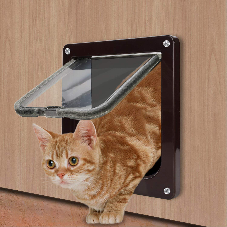 Sailnovo Puertas Para Gato 4-Modo Puerta Magnética Bloqueable de Aleta para Gato Gatito Perro Perrito Mascota Seguridad: Amazon.es: Productos para mascotas