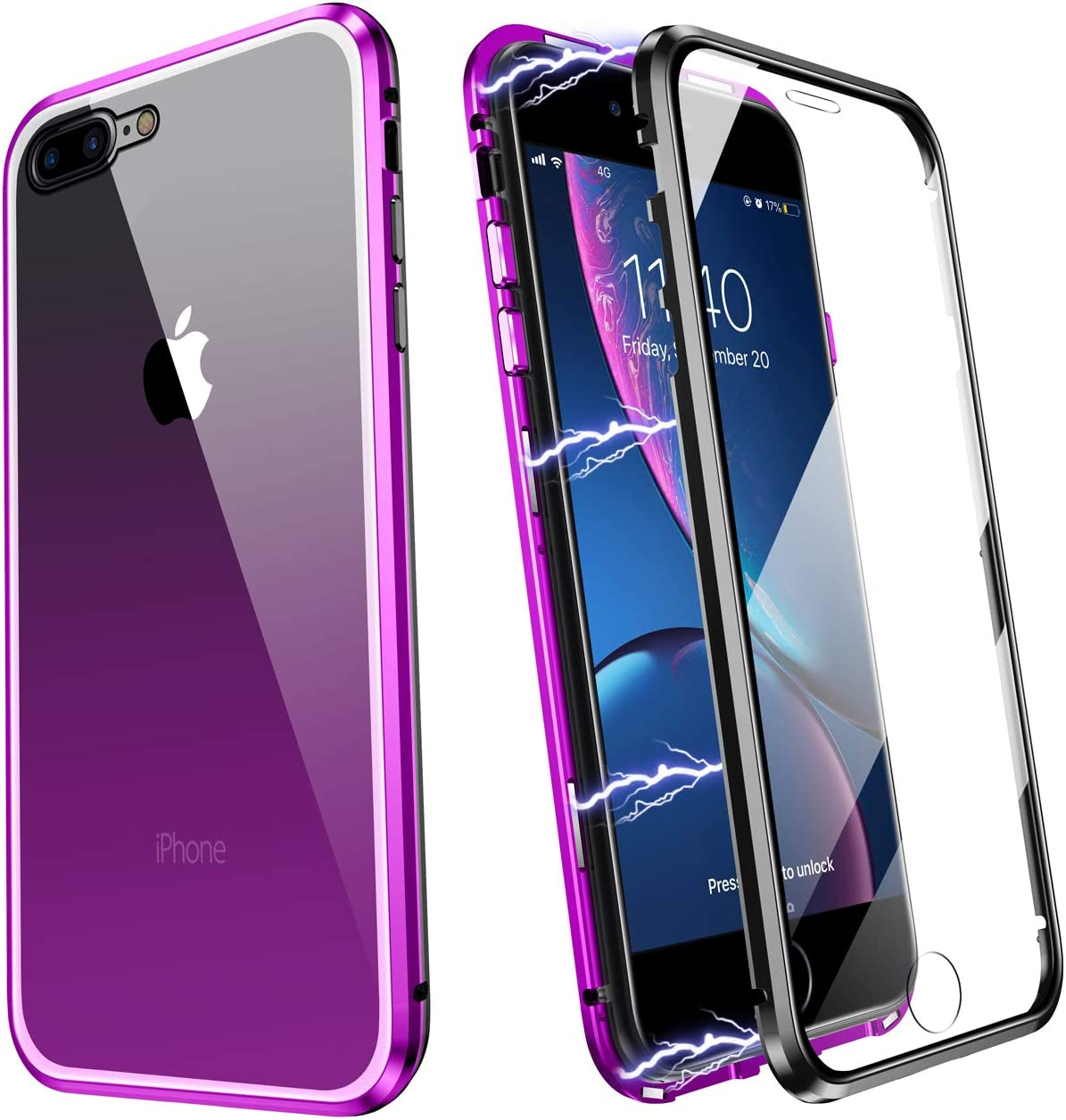 ZHIKE Funda para iPhone 7 Plus/8 Plus, Marco de Metal Magnético Frente y Parte Posterior Vidrio Templado Cobertura Pantalla Completa de una Pieza Color Degradado Diseño Antideslizante (Morado-Negro)