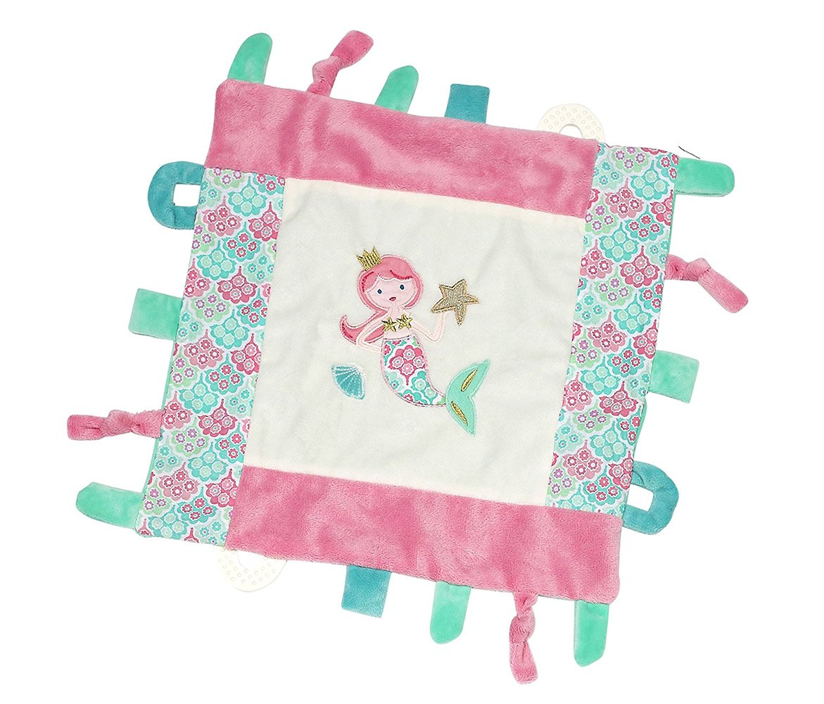 Mozlly Multipack - Maison Chic Pink and Teal Coral the Mermaid Multifunction Blankie - Teething Rings - Various Textures - Machine Washable - 15 x 15 inch - Toddler Bedding (Pack of 3)