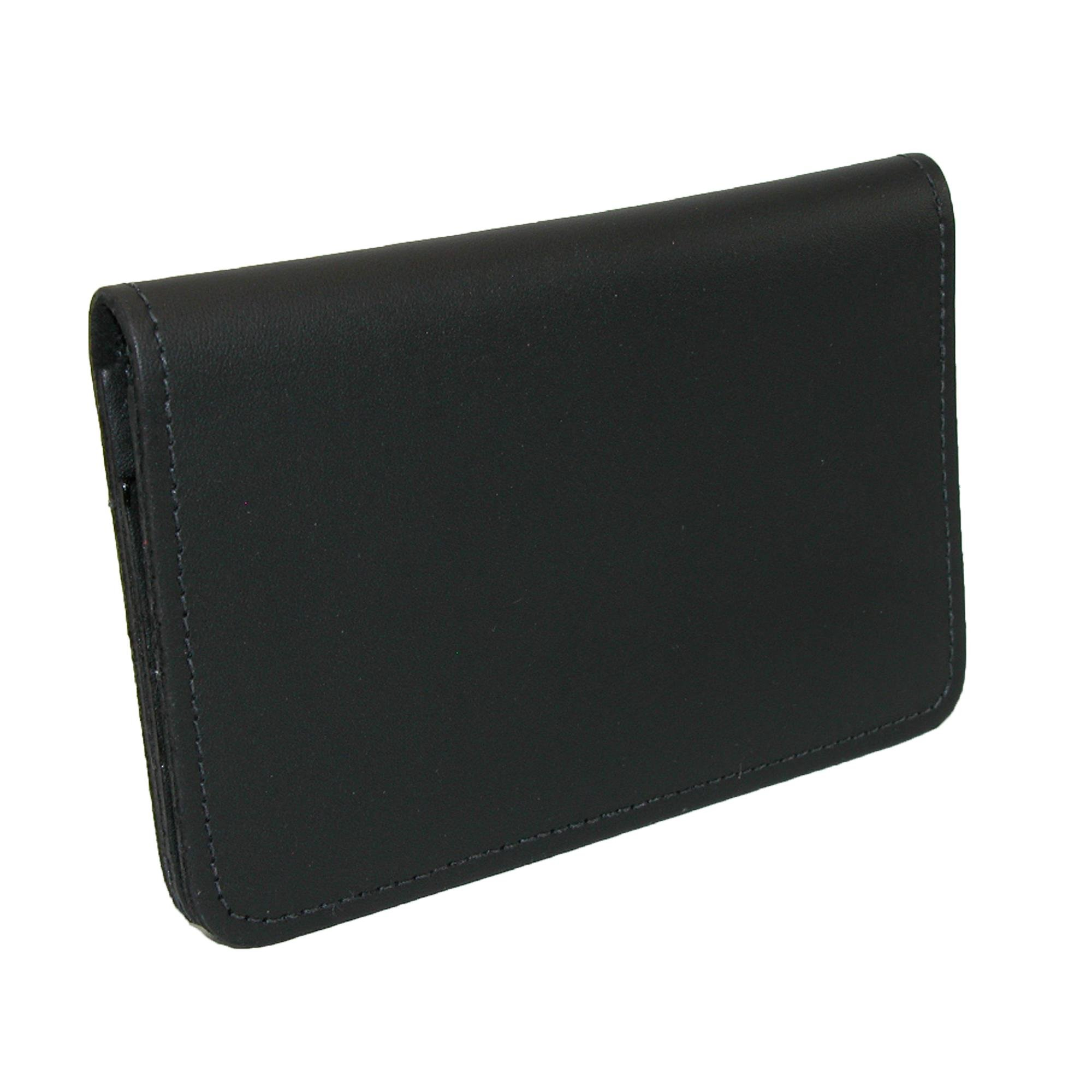 CTM Leather Top Stub Checkbook Cover, Black