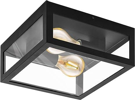 Eglo Deckenlampe Amezola 2 Flammige Wandlampe Deckenleuchte Industrial Vintage Wohnzimmerlampe Aus Stahl Und Glas Kuchenlampe In Schwarz Klar Badezimmer Lampe Mit E27 Fassung Ip44 Amazon De Beleuchtung