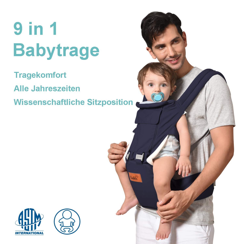 Bable Porte Bébé 9 en 1 Porte Bebe Ventral et Dorsale Porte-bébé Ergonomique- Respirants et Confortables en Toute Saison