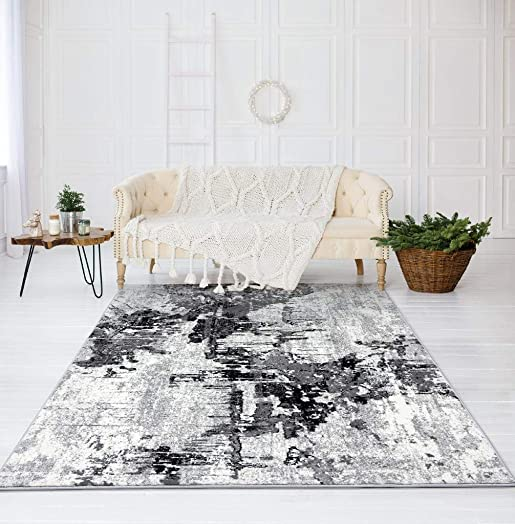 Luxe Weavers Abstract Gray 8x10 Area Rug