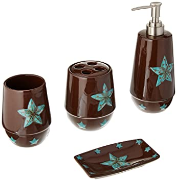 HiEnd Accents Western Star Bathroom Set, Turquoise