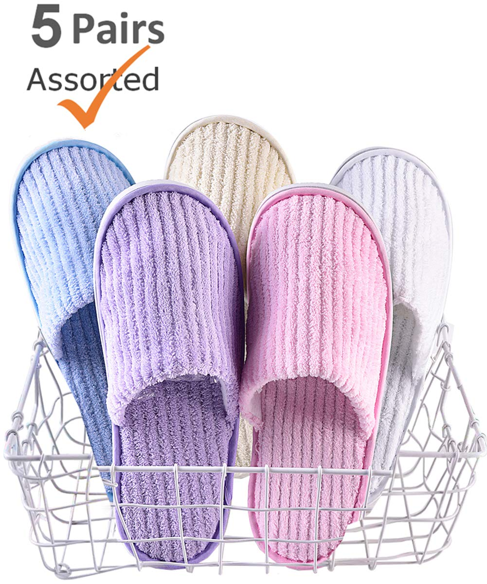 5 Pairs SPA Slippers,Assorted Color,Closed toe for Family,Guests,Travel,Hotel,Hospital,Washable,Portable,Disposable by Eucoz