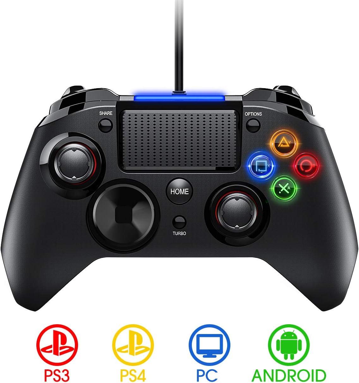 PICTEK Mando PS4 con Cable, Diseño Asimétrico para Manos Grandes ...