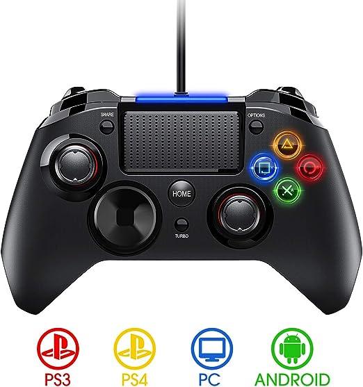 PICTEK Mando PS4 con Cable, Diseño Asimétrico para Manos Grandes, Joysticks con Doble Vibracion Turbo para PS4 / PS3 / PC (Windows XP/7/8/8.1/10) /Android/Steam, Negro: Amazon.es: Videojuegos