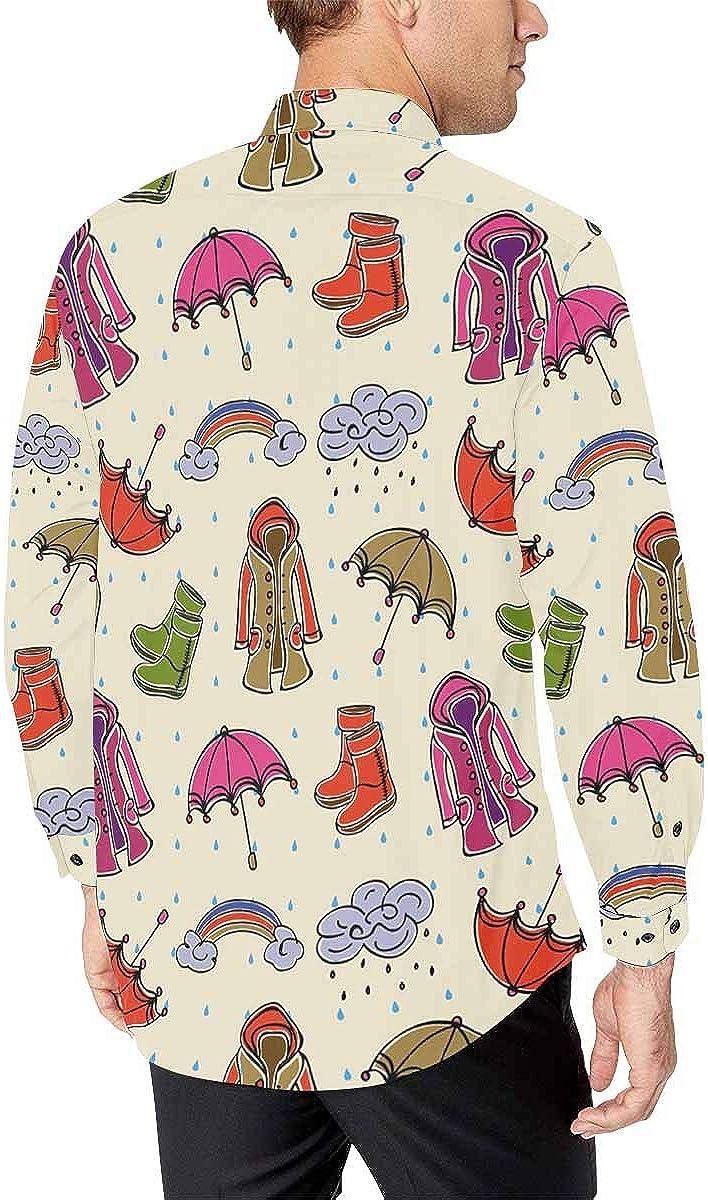 INTERESTPRINT Mens Slim Fit Long Sleeve Casual Button Down Shirt Cute Rainy Day Pattern