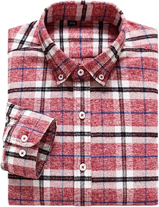 Honey GD Mens Denim Plaid Contrast Blouse Button Shirt Top Tees