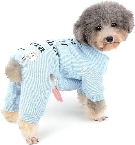 Zunea Pijama de punto para perros pequeños para perros, chico, cachorro, suéter, mameluco suave con forro polar para mascotas ropa de invierno cálido ...