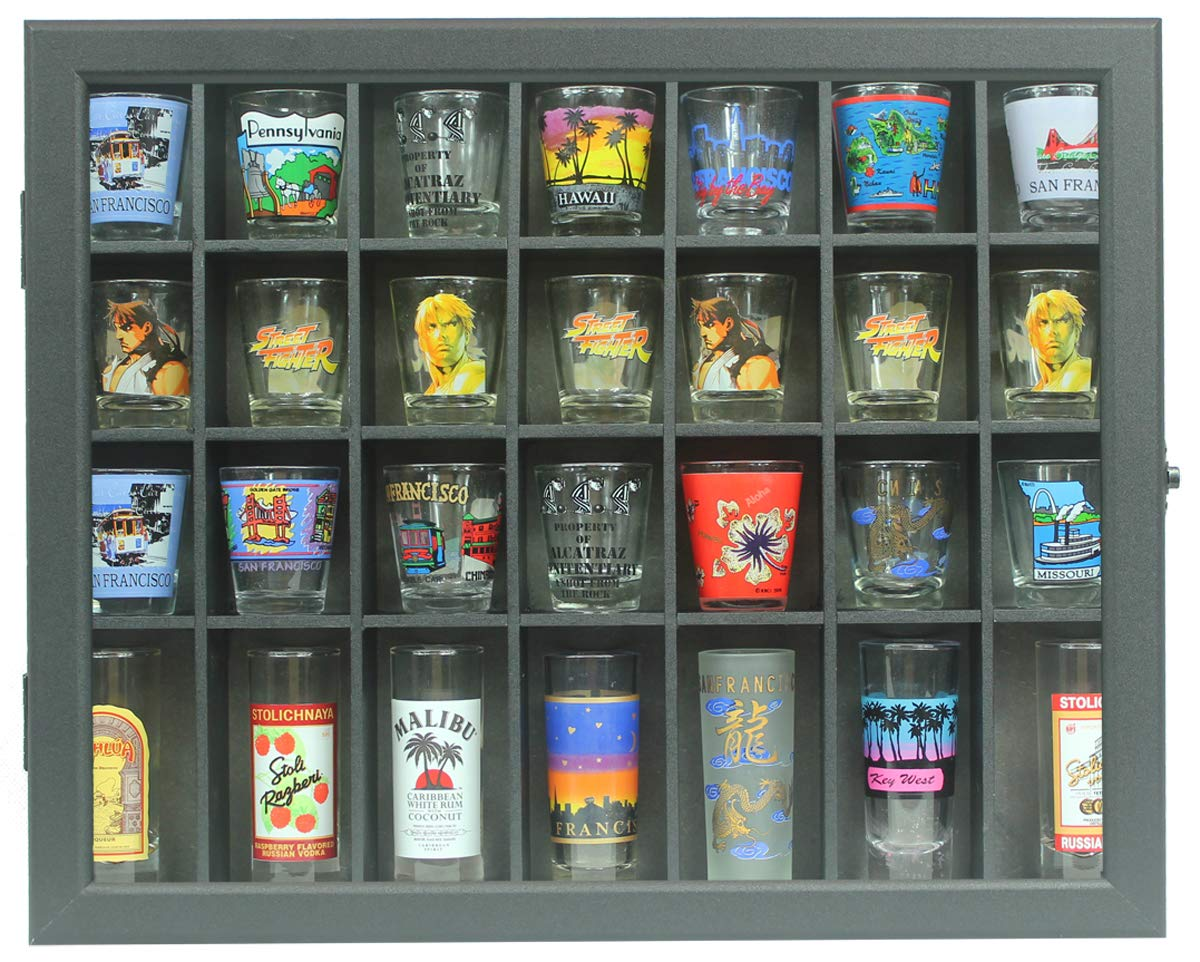 Shot Glass Display Case Shadow Box Cabinet Display Stand (Black) by DisplayGifts (Image #2)