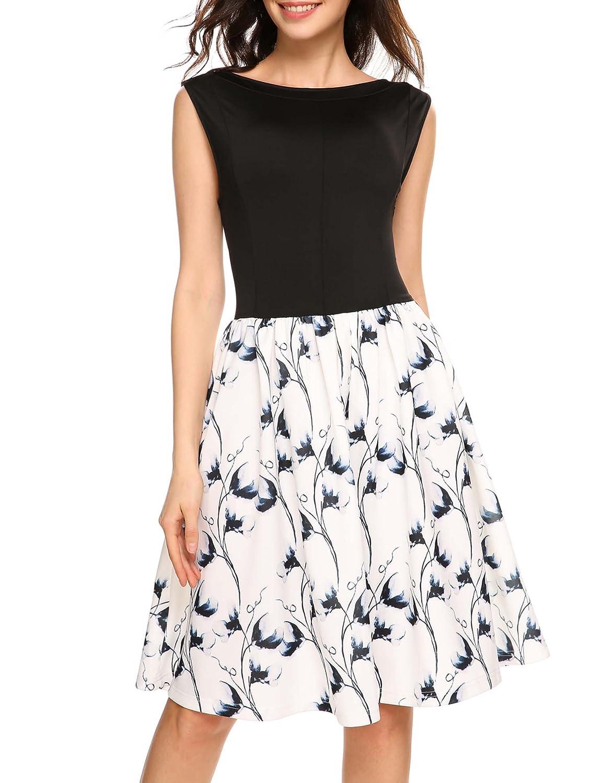 ANGVNS Damen Elegant Ärmellos Sommerkleid Abendkleid Strandkleid Tank Kleid Blumenkleid knielang Swing Kleid A Linie Floral Blumenmuster Rundhals Gr.S-XXL