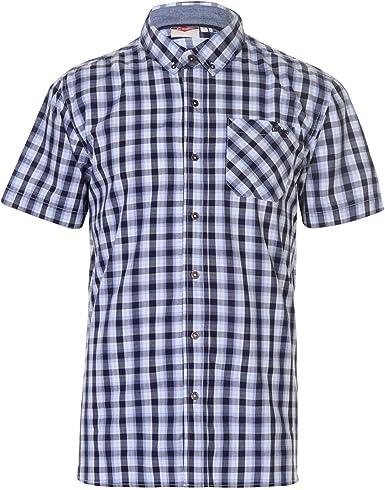 Lee Cooper - Camisa de manga corta para hombre azul marino/blanco S: Amazon.es: Ropa y accesorios