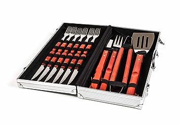 BBQ Barbacoa Cubertería en maletín de Aluminio Incluye Carne de Cubiertos, Mangos de Madera,