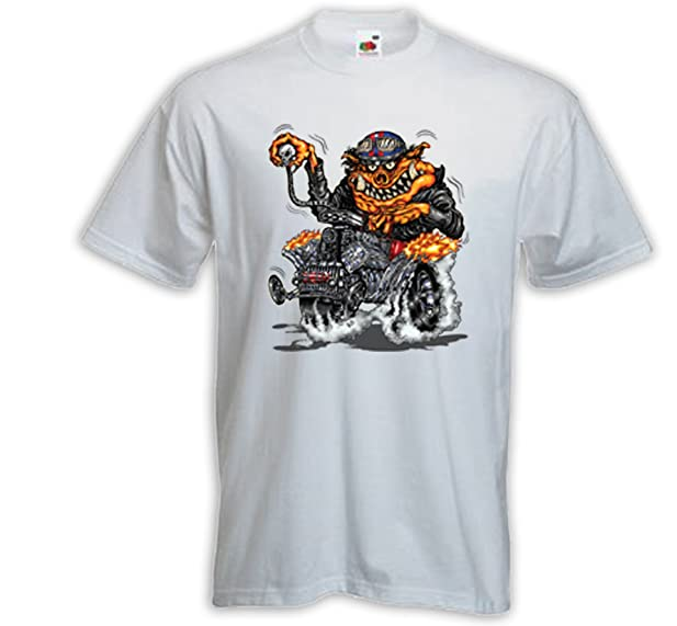 Hot Rod T-Shirt Rat Rod Monster 1 weiß Zündkerze Rockabilly Comic V8 Gr.