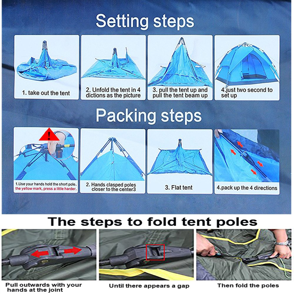 Amazon.com  Instant Pop Up Tent 2 person Lingwei Automatic Hydraulic C&ing Tents with Double Layer Waterproof C&ing Tents for 3 person Family Tents ...  sc 1 st  Amazon.com : two second tent - memphite.com