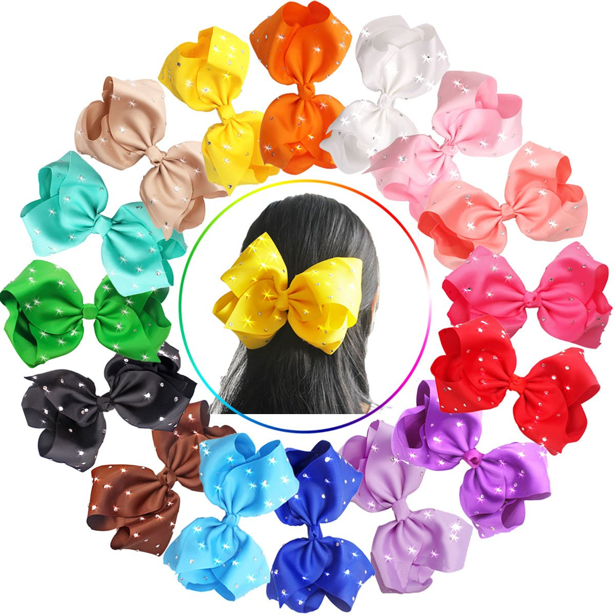 16pcs 8 inch Giant Glitter Sparkly Rhinestones Baby Girls Larger Big Grosgrain Ribbon Hair Bows Alligator Hair Clips