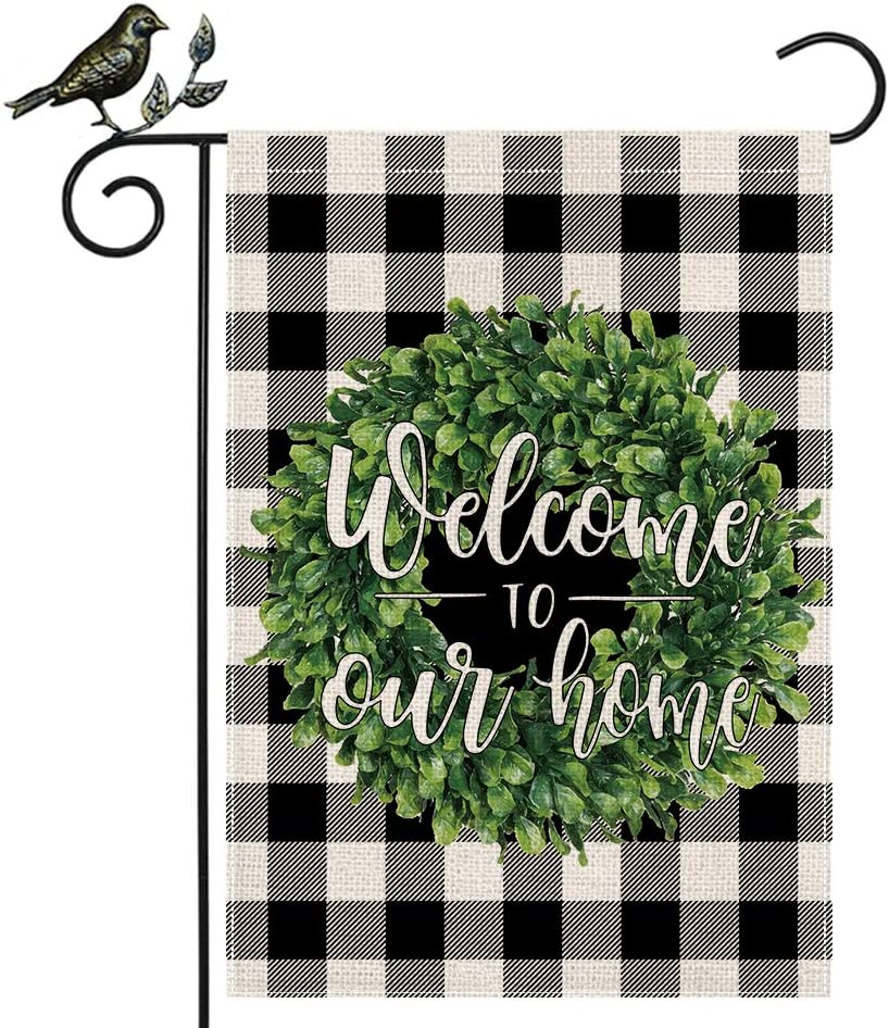 AENEY Welcome to Our Home Boxwood Wreath Garden Flag 12.5 x 18 Inch Vertical Double Sided Buffalo Check Plaid Rustic Farmhouse Fall Burlap Flag Yard Lawn Outdoor Decoration Black
