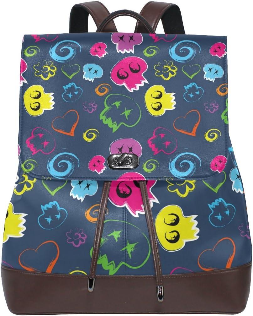 KUWT Skull and Love Heart PU Leather Backpack Photo Custom Shoulder Bag School College Book Bag Rucksack Casual Daypacks Diaper Bag for Women and Girl