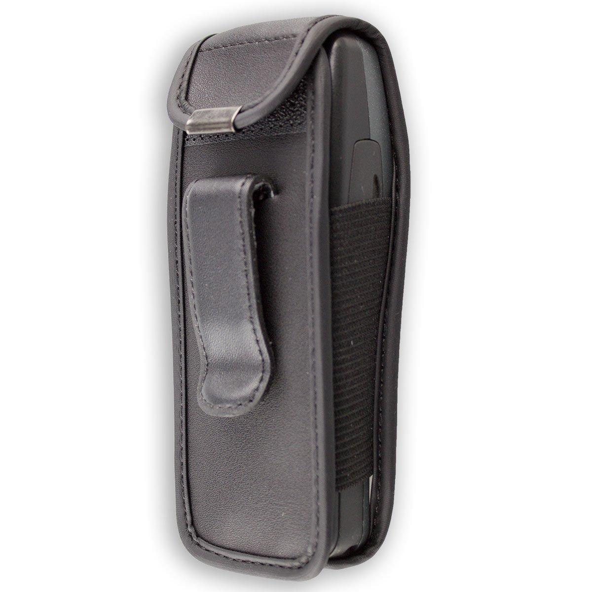 Funda Carcasa de Cuero Real en Negro caseroxx Bolsa de Cuero con Clip para el cintur/ón para Nokia 3210