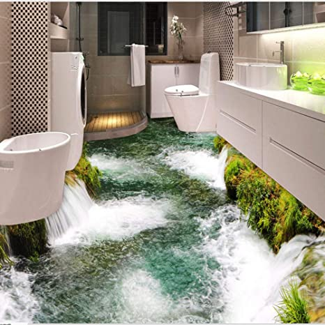 Mddjj Benutzerdefinierte Bodenbelag Wandbild Tapete Fluss Wasserfall Wc  Badezimmer Schlafzimmer 3D Boden Malerei Pvc Wasserdichte Aufkleber ...