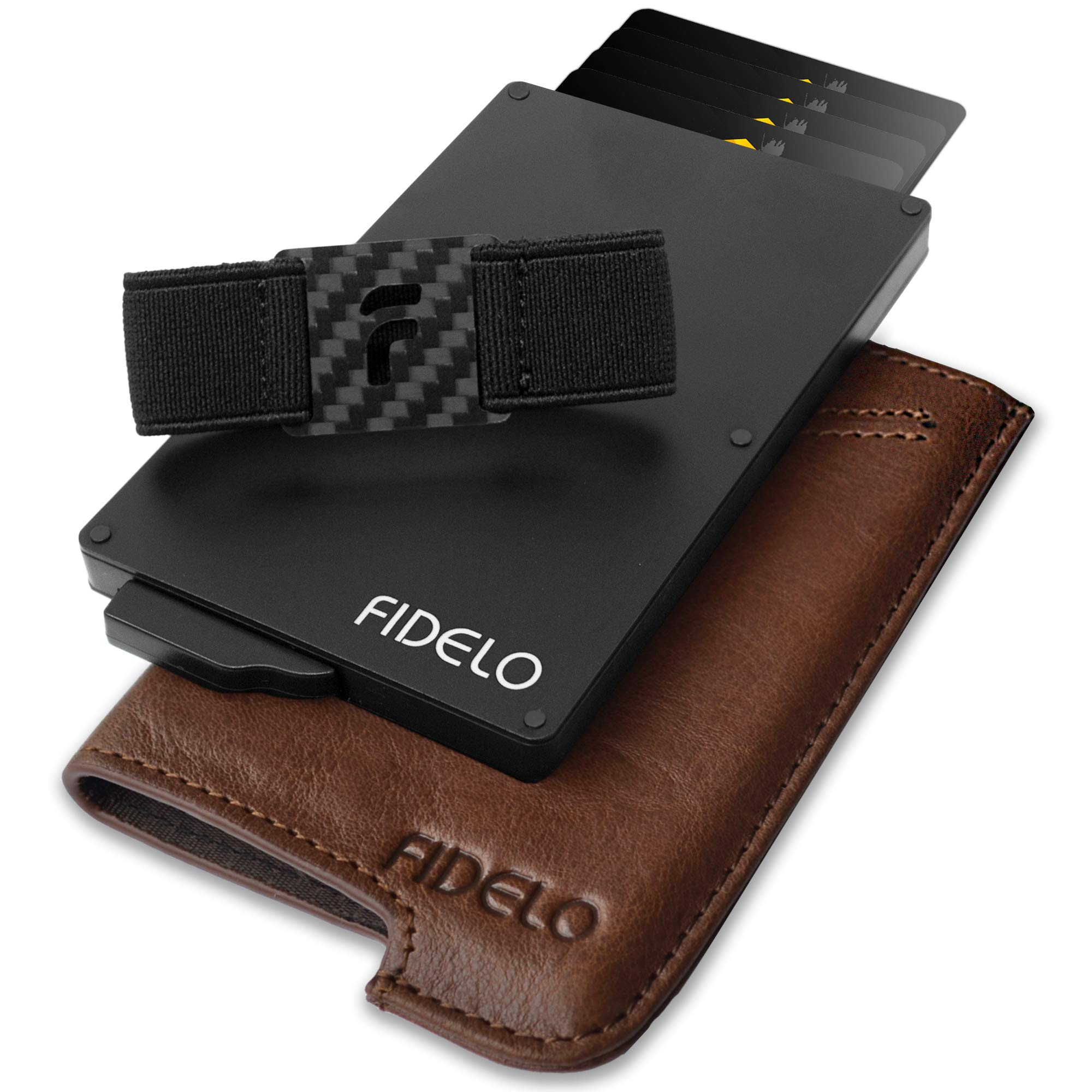 FIDELO Minimalist Wallet for Men - Slim Credit Card Holder RFID Mens Wallets with Leather Case (''Vintage Brown'' Vegetable Tanned Leather) by FIDELO