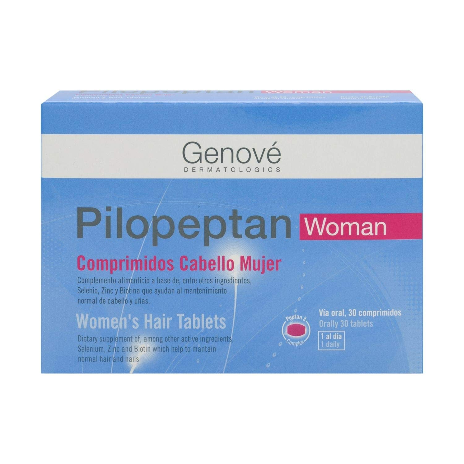 Amazon.com : 2 Pack Genové Pilopeptan Woman 30 x 2 (60 Tablets) - Hair Regrowth Treatment - Stop Hair Loss - Nail and Hair Treatment - Spain : Beauty
