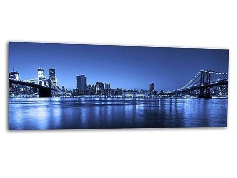 Grande stampa di vetro/immagine New York BRIDGE BLUE AG312500568 ...