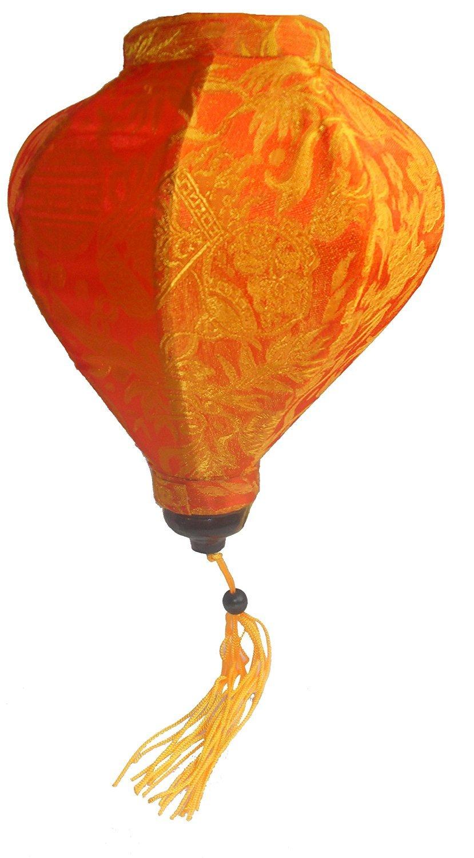 Vietnamese Oriental Silk Bamboo Handcrafted Lantern Lamp Chinese Orange,Small