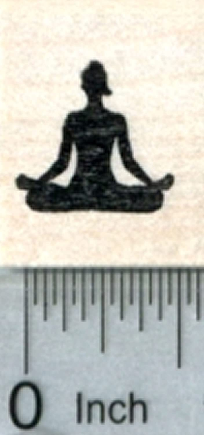 Tiny Yoga Rubber Stamp, 1/2 inch Silhouette, Calendar Series Rubberhedgehog Rubber Stamps A31122