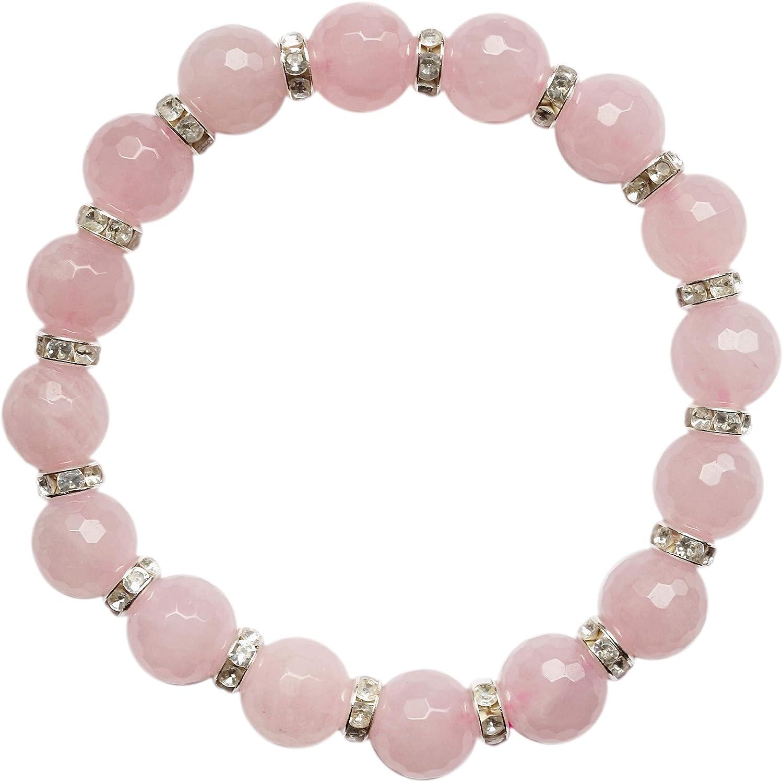 Pulsera de piedras preciosas, cuarzo rosa, perlas facetadas, Buda, plata, yoga, meditación, energía, astrología, esoterismo