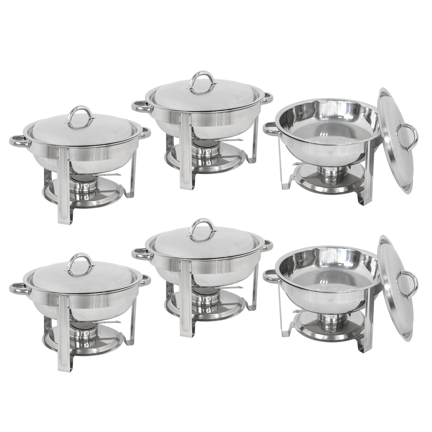 Deluxe Stainless Steel Chafing Dish Round Chafer with Lid 5 Quart,Dinner Serving Buffet Warmer Full Size (6)