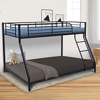 Buy Twin Over Full Metal Low Bunk Beds Heavy Duty Black Bed Frame With Safety Rail And Ladder For Dormitory Bedroom Boys Girls Adults No Box Spring Needed Online In Turkey B08jgzqprz