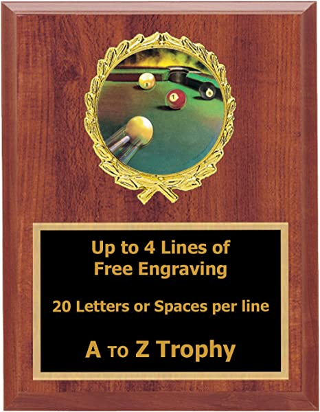 Piscina placa premios 5 x 7 madera billar trofeo 8 Ball torneo trofeos grabado gratis: Amazon.es: Deportes y aire libre