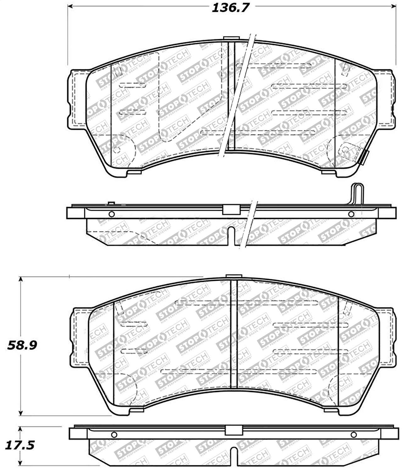 StopTech 305.11640 Street Select Brake Pads with Hardware