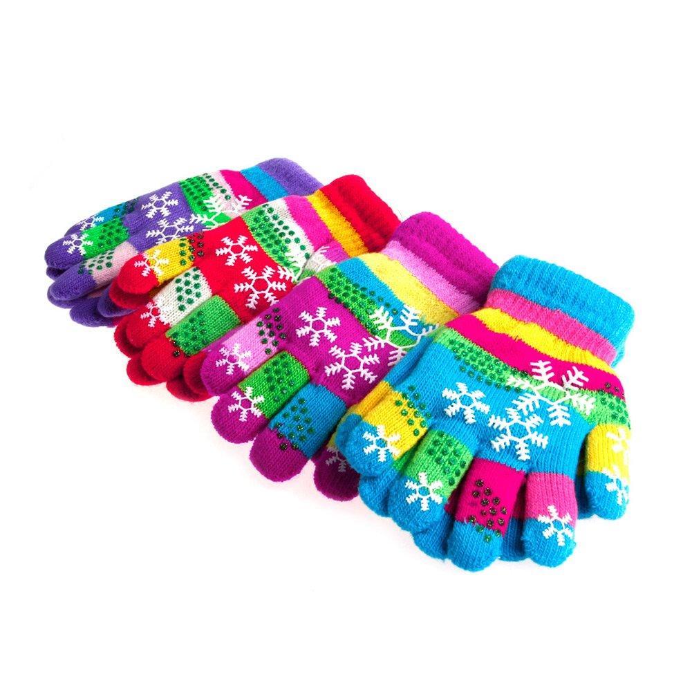 JAGENIE autunno inverno bambini bi-layer Addensato Snow stampa filato tinto guanti a maglia, a maglia, small