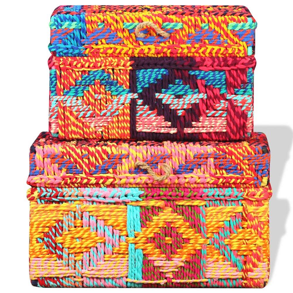 Amazon.com: 2 cajas de almacenamiento multicolor de tela ...