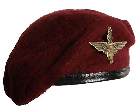 bcf030597e9e6 Reproduction Maroon Parachute Regiment Beret + Metal Cap Badge - Extra Large   Amazon.co.uk  Clothing