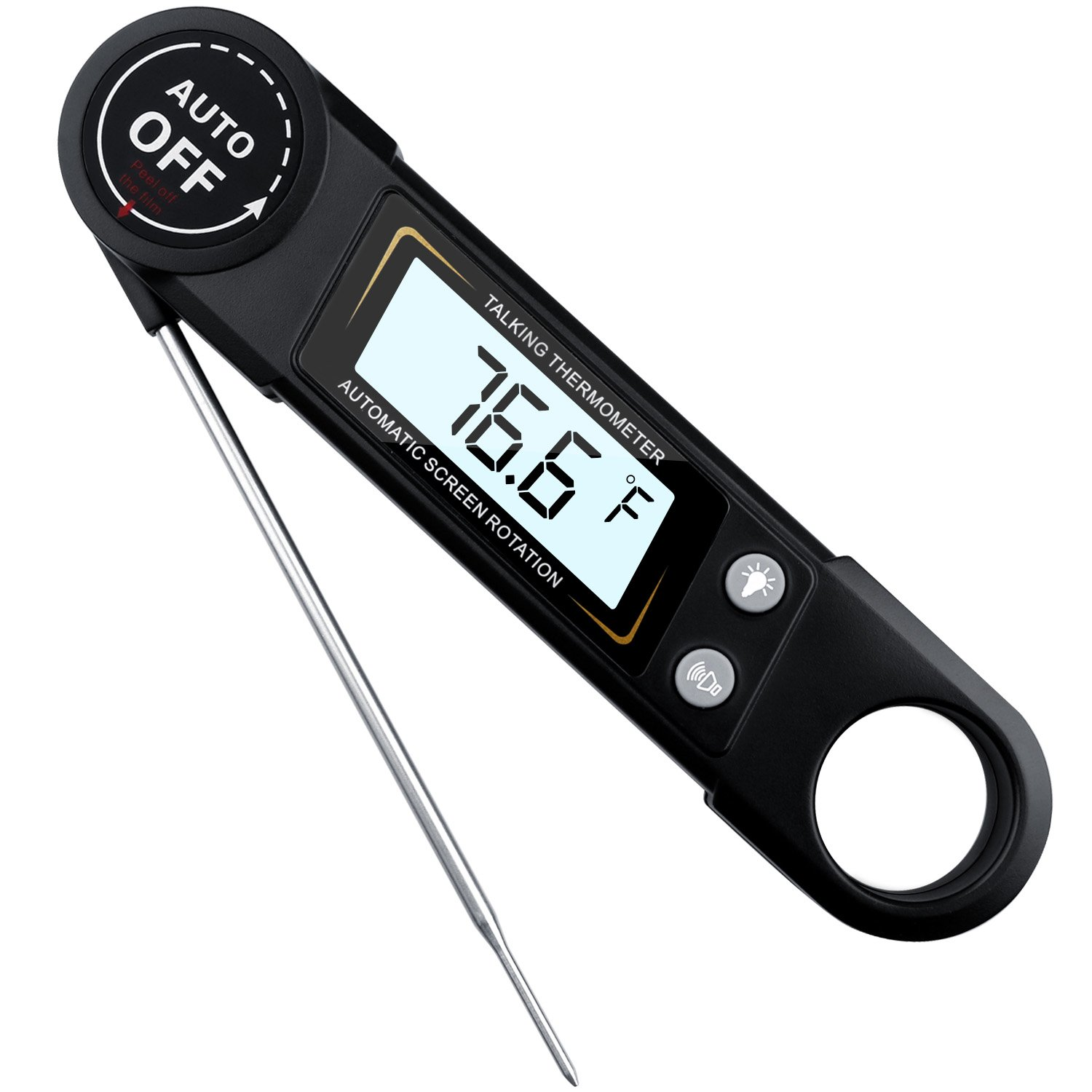 Meat Thermometer Foldable Digital Ultra Fast Talking Instant Read Thermometer With Calibration and Backlit Function for Cooking,Kitchen, BBQ, Grill (Black)
