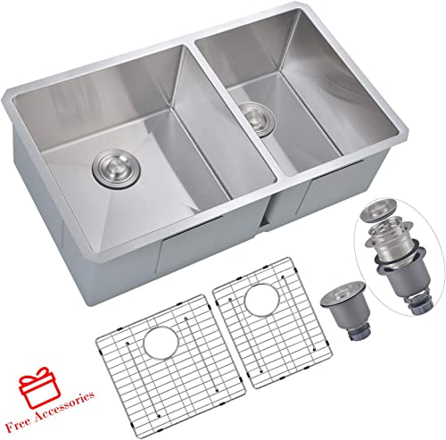 SINOGY 33 x19 Inch 60 40 Double Bowls Undermount 16 Gauge Stainless Steel Kitchen Sink With 2 Drainers and Bottom Grid