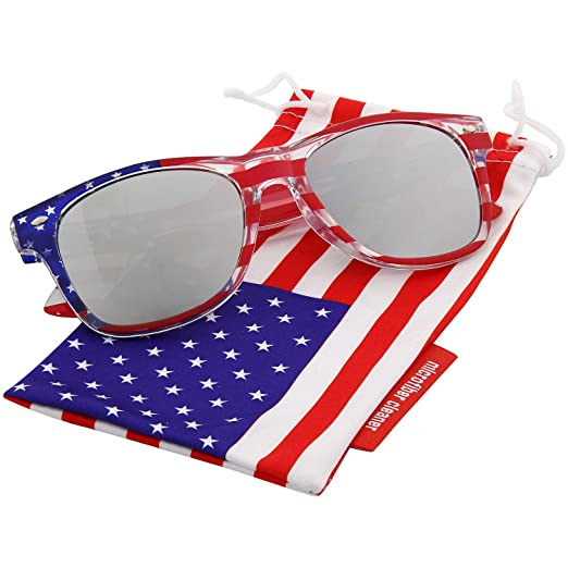 grinderPUNCH® American Patriot Flag Wayfarer Sunglasses Reflective Lens USA Shades 4th of July