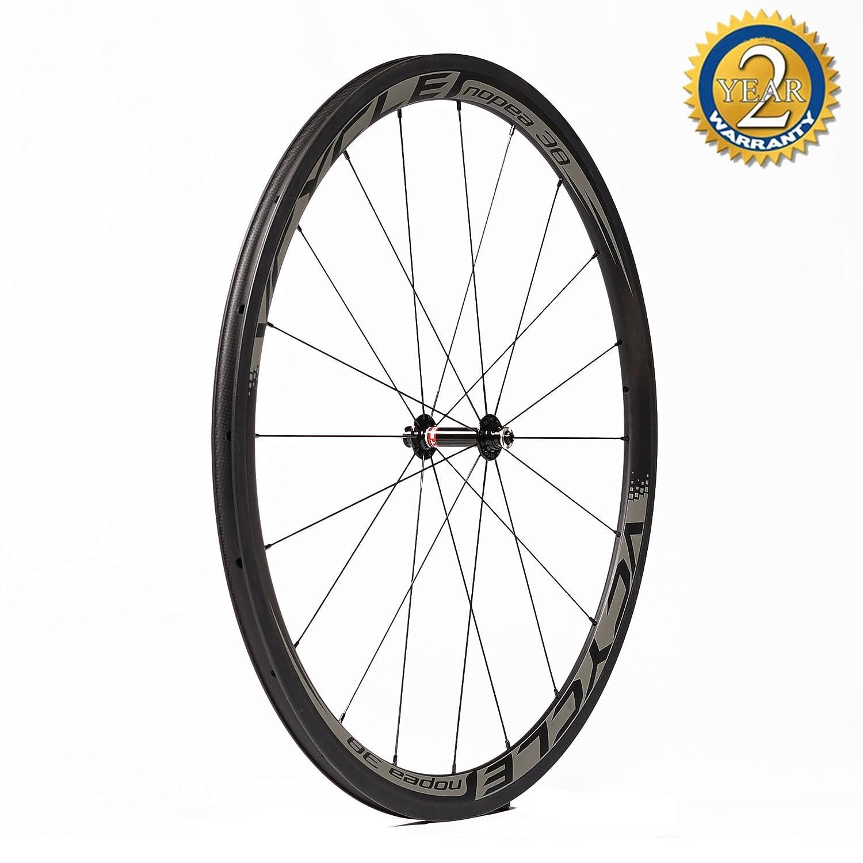 VCYCLE Nopea 700C Bicicleta de Carretera Juego de Ruedas Carbono Remachador 38mm Shimano o Sram 8/9/10/11 Velocidad(Rueda Delantera): Amazon.es: Deportes y ...
