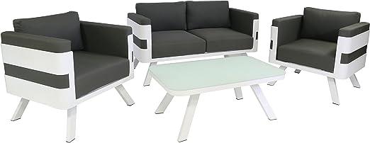 Juego de muebles de jardín de aluminio, mobiliario lounge de 4 unidades color blanco, incluyecojín antracita: muebles lounge para exterior e interior: sofá de 2 plazas + mesa + 2 sillones: Amazon.es: Jardín
