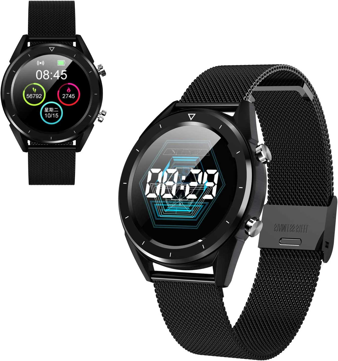 Reloj Inteligente multifunción para Hombres, Pantalla a Color Control de presión Arterial Smartwatch Modo multideportivo Monitorización de ECG para iOS y Android, Reloj Fitness Tracker (Steel-Black)