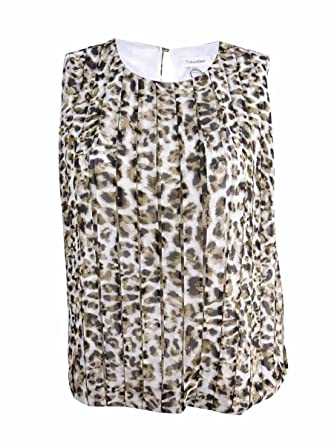 6a0e6a53 Calvin Klein Womens Plus Animal Print Pleated Blouse Multi 1X at ...