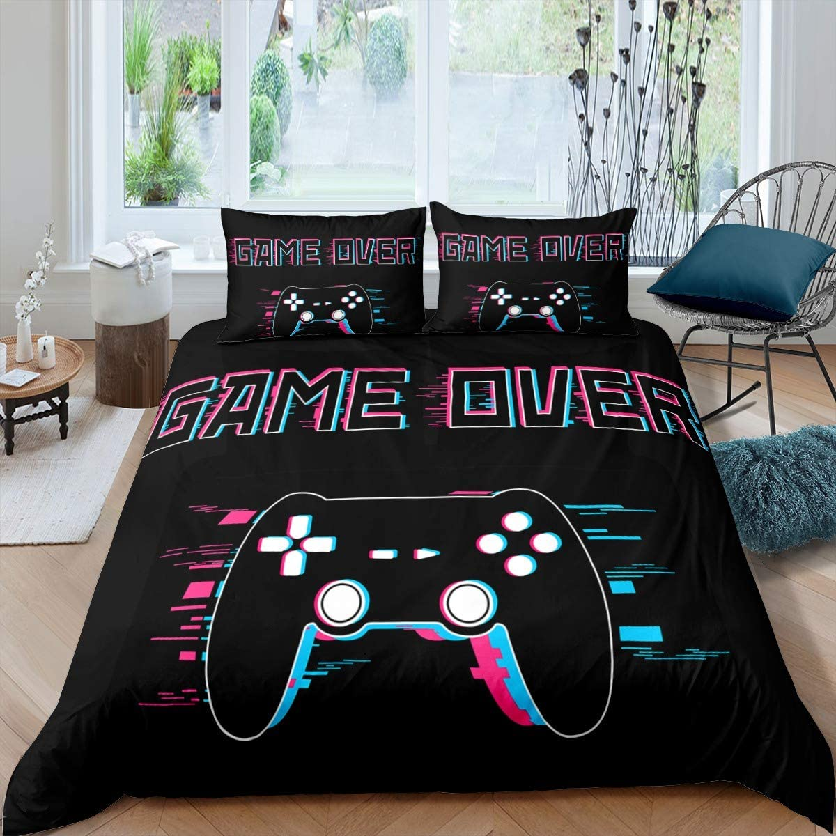 Gamepad Print Duvet Cover Set for Kids Boys Girls Teens Gamer Video Game Comforter Cover Youth Modern Fashion Game Controller Decor Bedding Set Hypoallergenic Microfiber Queen Size Black 2 Pcs