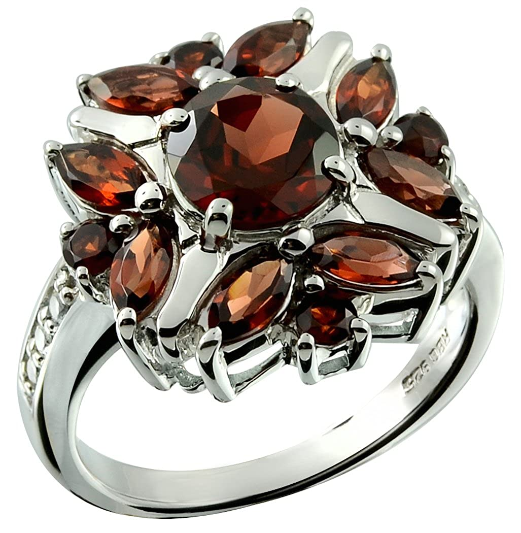 RB Gems Sterling Silver 925 Ring Genuine Gemstone 3 Cts Flower Ring with Rhodium-Plated Finish