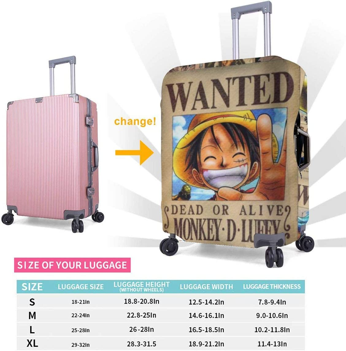Travel Luggage Cover Cartoon Newspaper One Piece Travel Luggage Cover Suitcase Protector Fits 26-28 Inch Washable Baggage Covers
