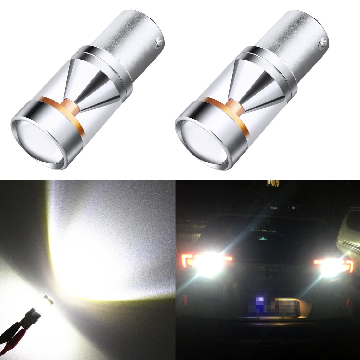 Alla Lighting Genuine CREE XB-D 1156 BA15S Xtremely Bright 6000K White LED Lights Bulbs for Auto Turn Signal Backup Reverse Brake Tail Lights Bulbs Lamp Replacement (1156/7506)